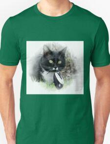 Black cat catching computer mouse Unisex T-Shirt