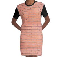 Brick wall pattern Graphic T-Shirt Dress