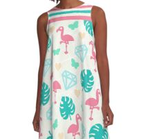 Miami Beach Pastels Pattern A-Line Dress