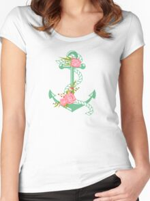 Anchors and flowers Women's Fitted Scoop T-Shirt