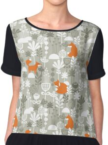 Fox in winter forest.  Chiffon Top