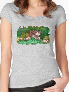 Cat in flower garden Women's Fitted Scoop T-Shirt