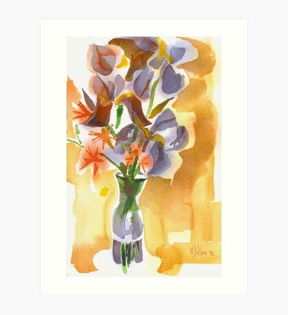 Irises with Stars of Bethlehem Watercolor Art Print