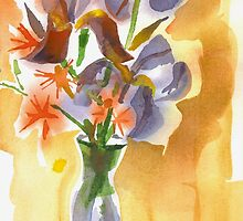 Irises with Stars of Bethlehem Watercolor by KipDeVore