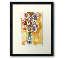 Irises with Stars of Bethlehem Watercolor Framed Print