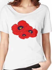 Poppy White Women's Relaxed Fit T-Shirt