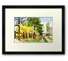 Forsythia in Bloom in Watercolor Framed Print