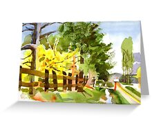 Forsythia in Bloom in Watercolor Greeting Card
