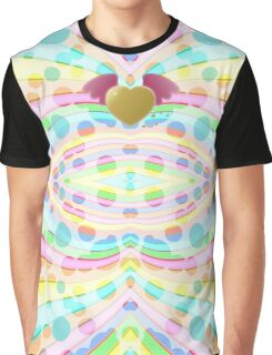 Cute Girly Pastel Circles Waves Winged Heart Angel Graphic T-Shirt