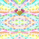 Cute Girly Pastel Circles Waves Winged Heart Angel by Beverly Claire Kaiya
