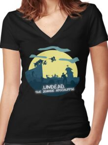 Undead, The Zombie Apocalypse (ET Spoof) Women's Fitted V-Neck T-Shirt