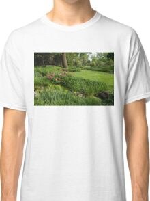 Gardening Delights - Vigorous Greens and Blooming Peonies Classic T-Shirt