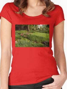 Gardening Delights - Vigorous Greens and Blooming Peonies Women's Fitted Scoop T-Shirt