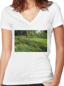 Gardening Delights - Vigorous Greens and Blooming Peonies Women's Fitted V-Neck T-Shirt