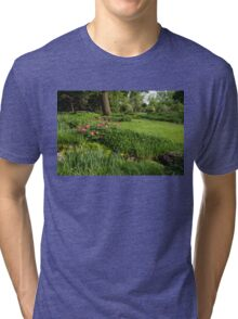 Gardening Delights - Vigorous Greens and Blooming Peonies Tri-blend T-Shirt