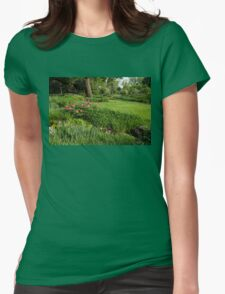 Gardening Delights - Vigorous Greens and Blooming Peonies Womens Fitted T-Shirt