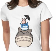 Trio Totoro Womens Fitted T-Shirt