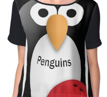 Penguin with bowling bow Chiffon Top