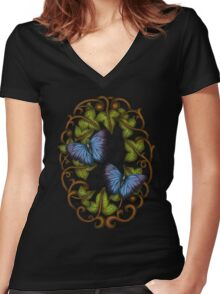 Oval Ivy and Butterflies Women's Fitted V-Neck T-Shirt