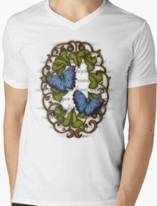 Oval Ivy and Butterflies Mens V-Neck T-Shirt