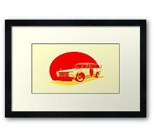 Shakotan Wagon (Red Sun) Framed Print