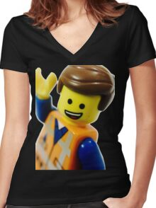 Keep on Smiling! Women's Fitted V-Neck T-Shirt