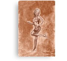 Pinup girl fashion, in stockings, and stiletto high heel shoes. Canvas Print