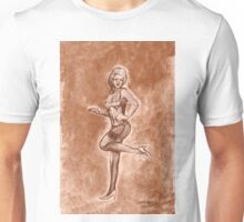 Pinup girl fashion, in stockings, and stiletto high heel shoes. Unisex T-Shirt