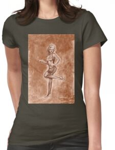 Pinup girl fashion, in stockings, and stiletto high heel shoes. Womens Fitted T-Shirt