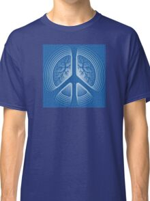 Blue Hippy Peace Sign Classic T-Shirt