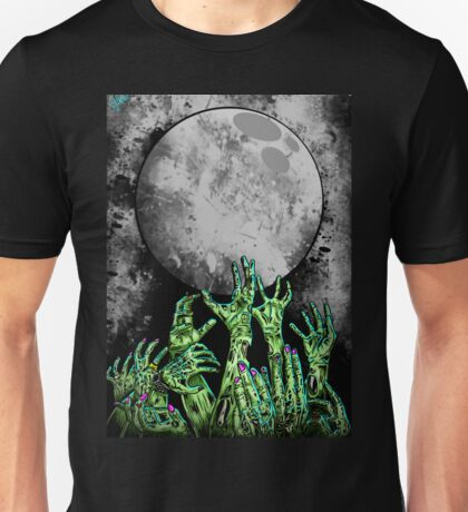 zombie hands under moonlight Unisex T-Shirt