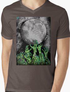 zombie hands under moonlight Mens V-Neck T-Shirt