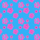 Pink and Blue Hibiscus Pattern by Greenbaby