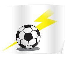 Soccer football with a lightning bolt Poster