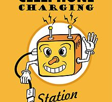 Cellphone Charging Station Here Sign by Héctor Calles