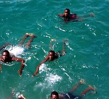 African Kids Swimming off Goree Island - Print by WonderMeMosaics