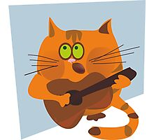 Cat playing guitar Photographic Print