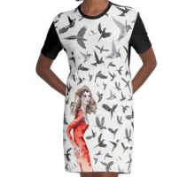 Barcelona Summer Bird Lady  Graphic T-Shirt Dress