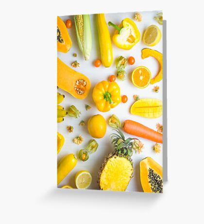 Yellow food on white Greeting Card
