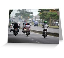 busy traffic in bandung Greeting Card