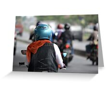 riding motorcycle Greeting Card
