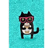 Coffee Cat and Doodles Photographic Print