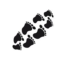 Baby footprints round stomach Photographic Print