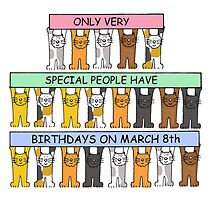 Cats celebrating birthdays on March 8th by KateTaylor