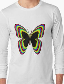 Multi-Colored Buttrfly Long Sleeve T-Shirt