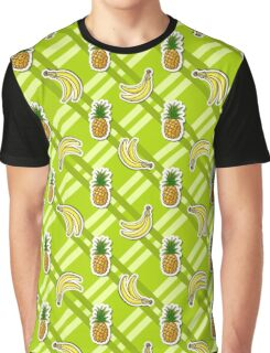 Striped Background Banana Pineapple Graphic T-Shirt