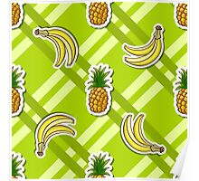 Striped Background Banana Pineapple Poster