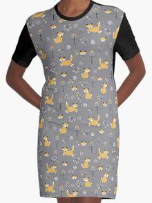 Foxy Grey Graphic T-Shirt Dress