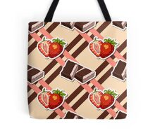 Striped Background Chocolate Strawberry Tote Bag