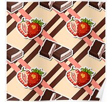 Striped Background Chocolate Strawberry Poster